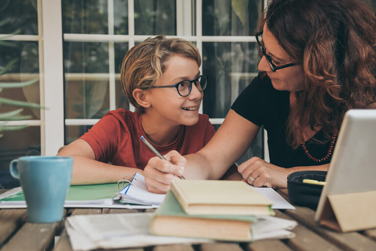 Parent homeschooling their child